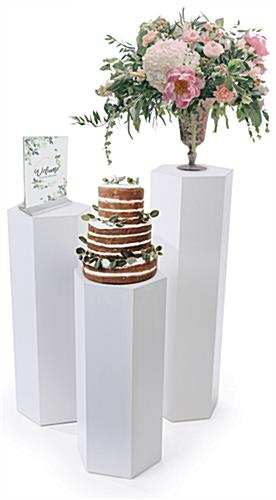 Set of 3 hexagonal gallery pedestals with 50 pound weight capacity per unit