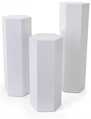 Hexagonal display pedestal with three various heights