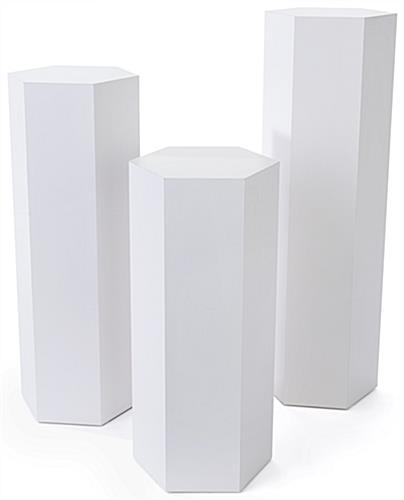 Set of 3 hexagonal gallery pedestals with overall width of 13.75 inches