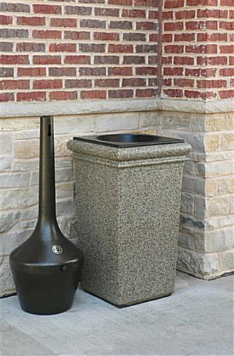 Black Outdoor Ashtray with Lift-Out Pail