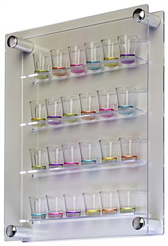 shot glass shelves clear acrylic with aluminum standoffs rh displays2go com plexiglass/acrylic display cases with shelves