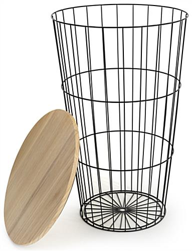 Wood top iron storage basket with top loading style