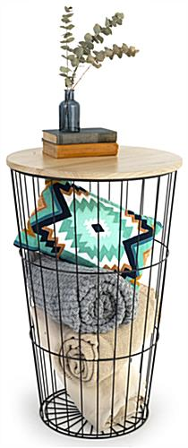 Wood top iron storage basket with versatile table or dump bin design