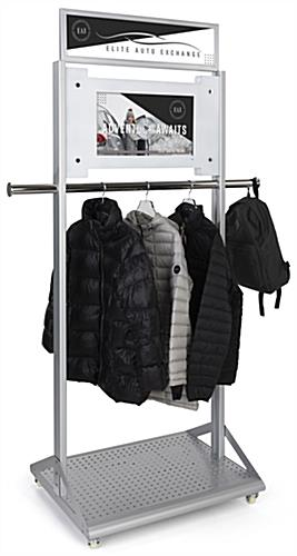 Mobile garment rack with digital sign and multi media capabilities