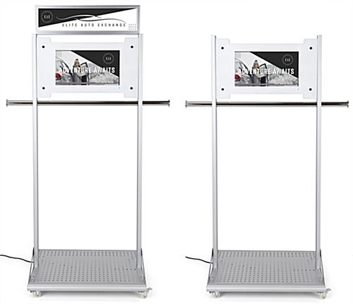Mobile garment rack with digital sign and optional header graphic frame