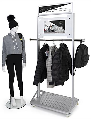 Mobile garment rack with digital sign and overall dimensions of 32.5 inches wide by 86 inches tall