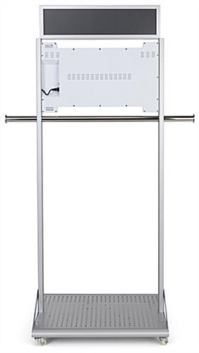 Mobile garment rack with digital sign with built in speakers