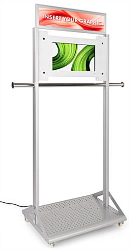 Mobile garment rack with digital sign and Android 7.1 operating system
