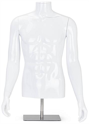 Headless abstract male display torso measures 21 inches wide by 39 inches tall