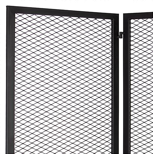 Hinged mesh retail display screen with modern gridwall design