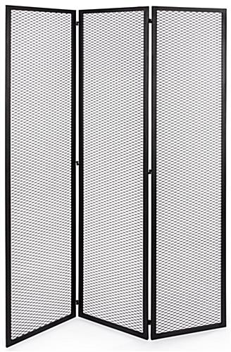 Hinged mesh retail display screen with three 15 inch wide by 72 inch tall panels