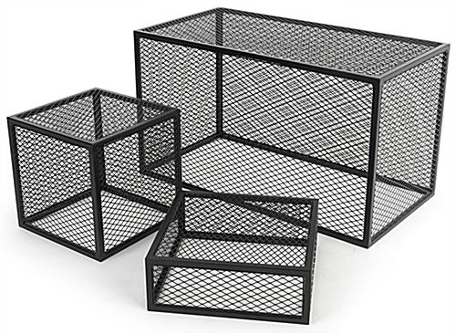 Iron mesh cube storage riser in three sizes