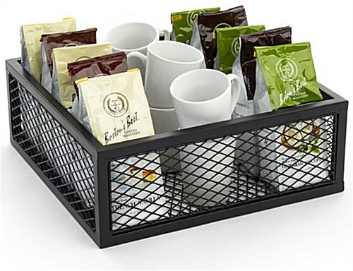 Iron mesh cube storage riser with hollow bottom