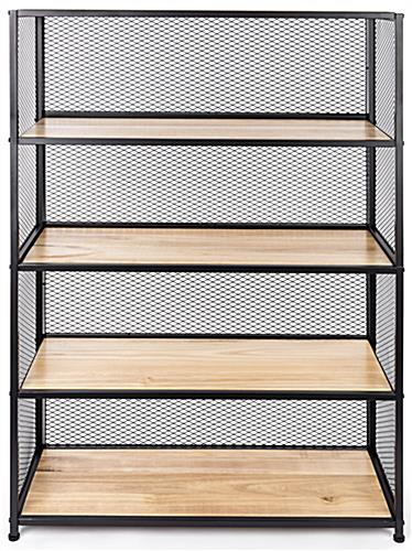 Metal mesh wood bookcase shelving unit with 38.37 inch long by 15.75 wide shelves