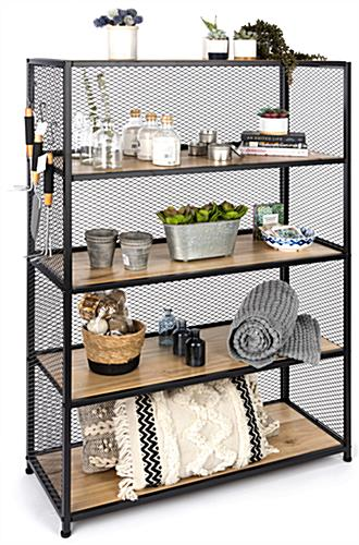 Metal mesh wood bookcase shelving with 33 pound weight capacity per shelf
