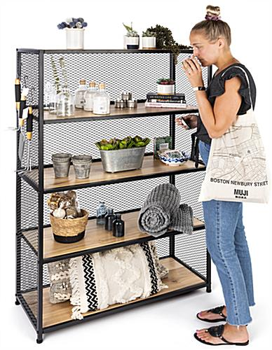 Metal mesh wood bookcase shelving with overall measurements of  40 W x 16 D x 60 H