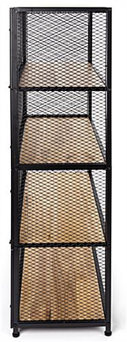 Metal mesh wood bookcase shelving with 2mm thick mesh side panels