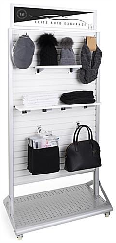 Rolling slatwall stand with sign holder and standard slatted wall accessory compatibility