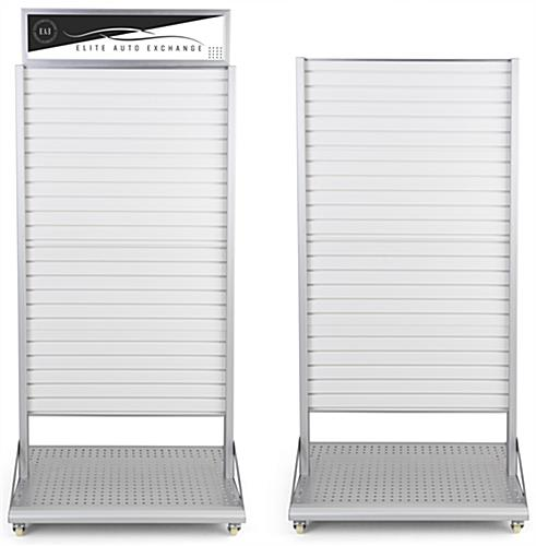 Rolling slatwall stand with sign holder for optional header signage