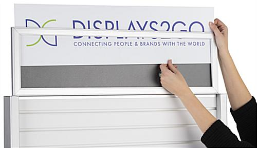 Rolling slatwall stand with sign holder and top insert loading style