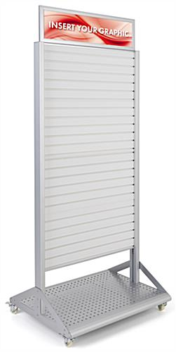 Rolling slatwall stand with sign holder and aluminum and PVC build
