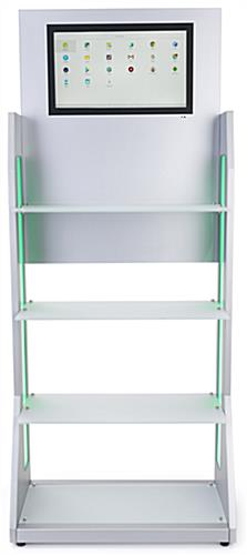 LED retail shelving with media player features 4 white frosted glass shelves