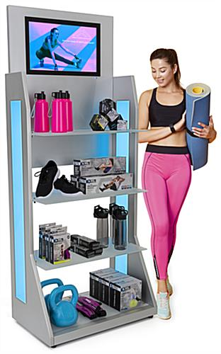 LED retail shelving with media player and 33lb weight capacity per shelf