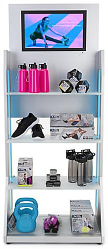 LED retail shelving with media player features two panels and 6 strobing options