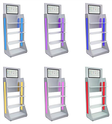 LED retail shelving with media player includes 2 LED panels and 16 color changing options