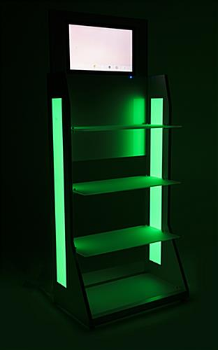 LED retail shelving with media player includes light strobing and dimming options