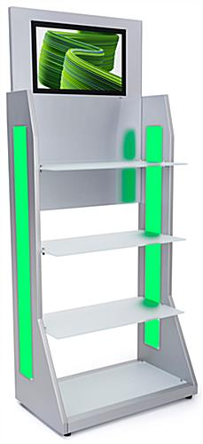 LED retail shelving with media player features a silver powder coated finish