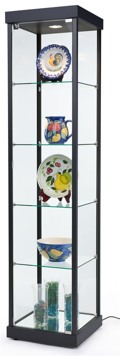 Tempered Glass Display Case Black Semi Gloss Finish
