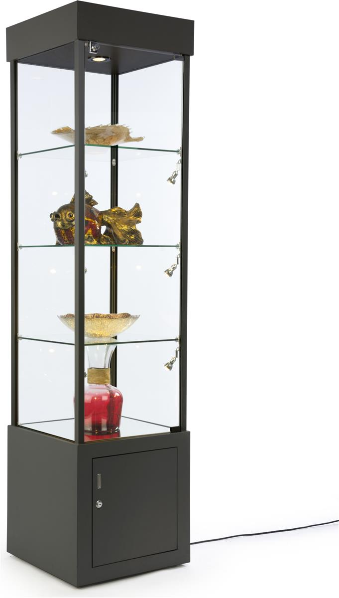 Black Tower Showcase With Mirrored Bottom Bottom Storage
