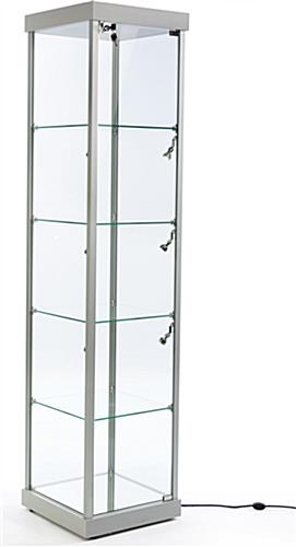 Silver Tempered Glass Tower Showcase for Collectibles