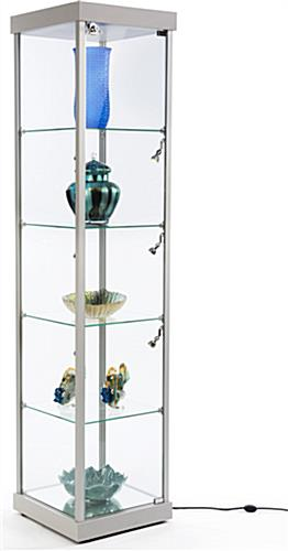 Silver Tempered Glass Tower Showcase
