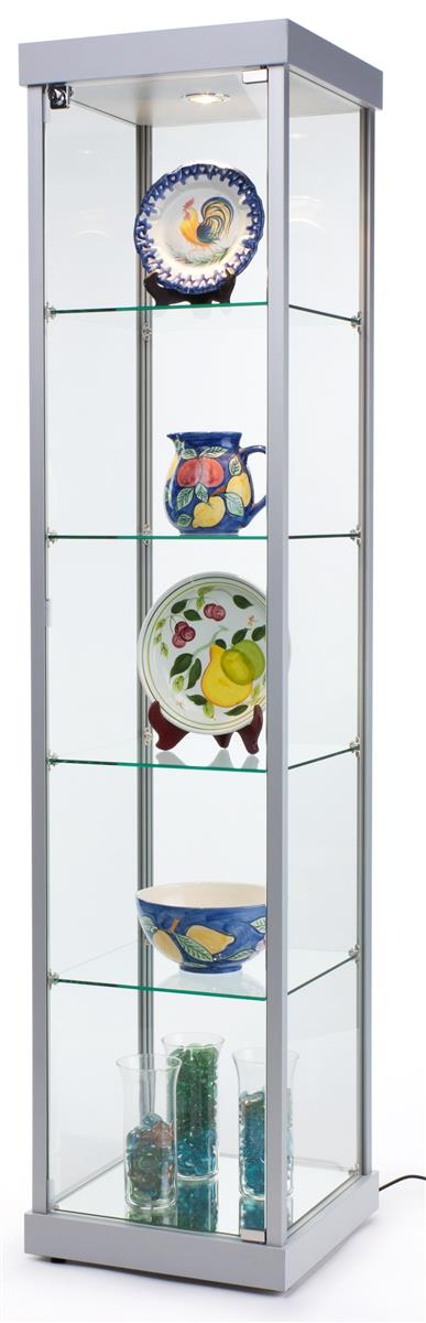Admirable 18 Glass Display Case W 4 Fixed Shelves Locking Hinged Door Top Lights Silver Download Free Architecture Designs Embacsunscenecom