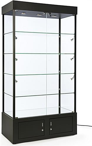 Black Display Case With Mirrored Bottom Bottom Storage