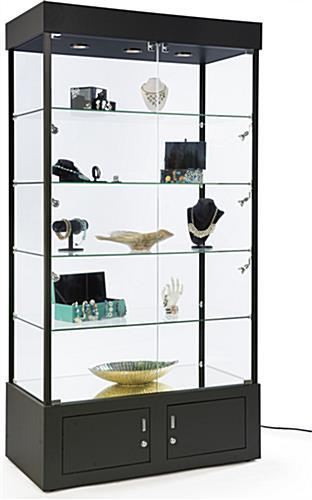 black display case with mirrored bottom bottom storage. Black Bedroom Furniture Sets. Home Design Ideas