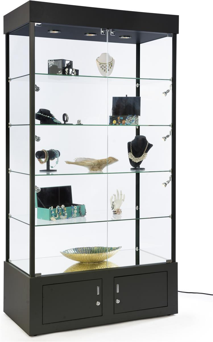 Black display case with mirrored bottom bottom storage for Grandi case cabinate