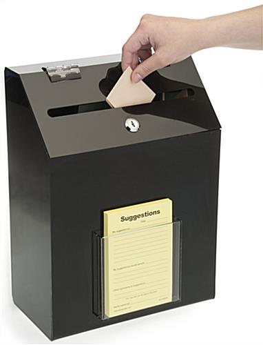 Black Suggestion Box with 1 Pocket w/ Slot