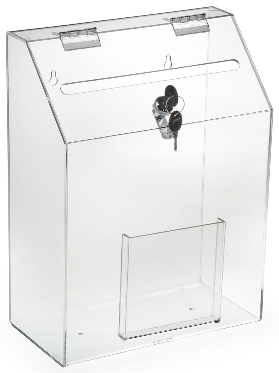 Clear Suggestion Box With 1 Pocket Hinged Lid