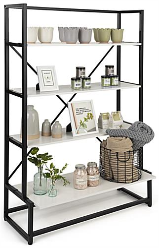 Folding multi-tier retail shelving with 14 inch shelf clearance