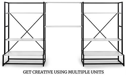 Modular folding multi-tier retail shelving with adjustable shelves