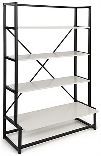 Folding multi-tier retail shelving with white laminated paulownia wood shelves
