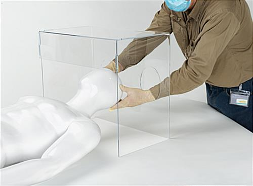 Acrylic aerosol intubation box with two arm openings