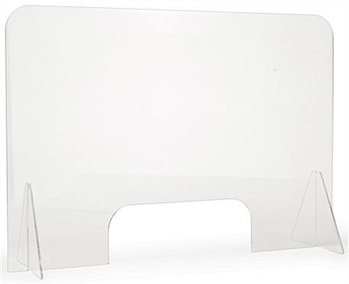 Clear countertop sneeze shield measures 44 inches by 33 inches