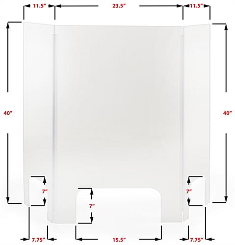 Acrylic countertop cashier shield with 3 transaction slots