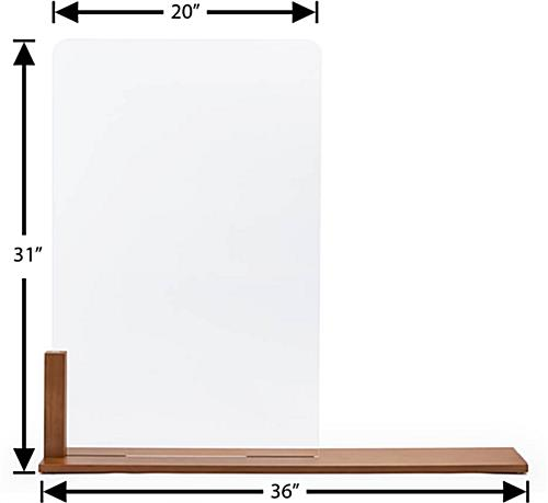 Wood framed vertical hygiene barrier with overall width of 36 inches
