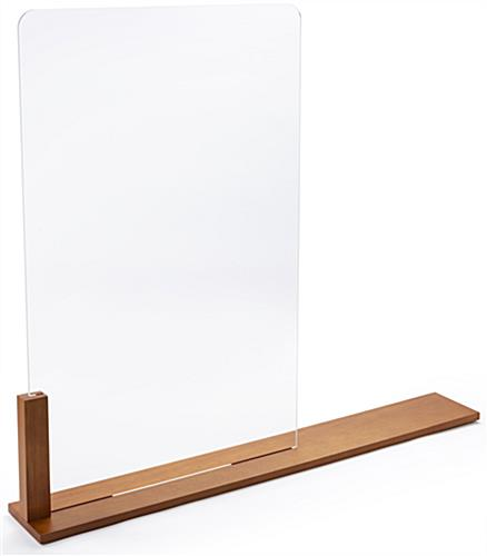 Wood framed vertical hygiene barrier with 20 inch wide by 31 inch tall acrylic panel