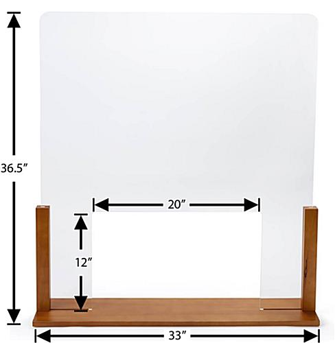 Upscale wood-framed sneeze guard with passthrough that is 20 inches wide by 12 inches tall